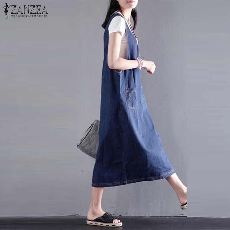 Women's Clothing Womens Jeans Sundress 2019 Zanzea Female V Neck Denim Blue Summer Dress Plus Size Sleeveless Midi Vestidos Casual Robe Femme