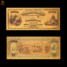 $1875 dólar cor ouro chapeado dinheiro papel cédula para a coleção 1000 us souvenir notas de ouro