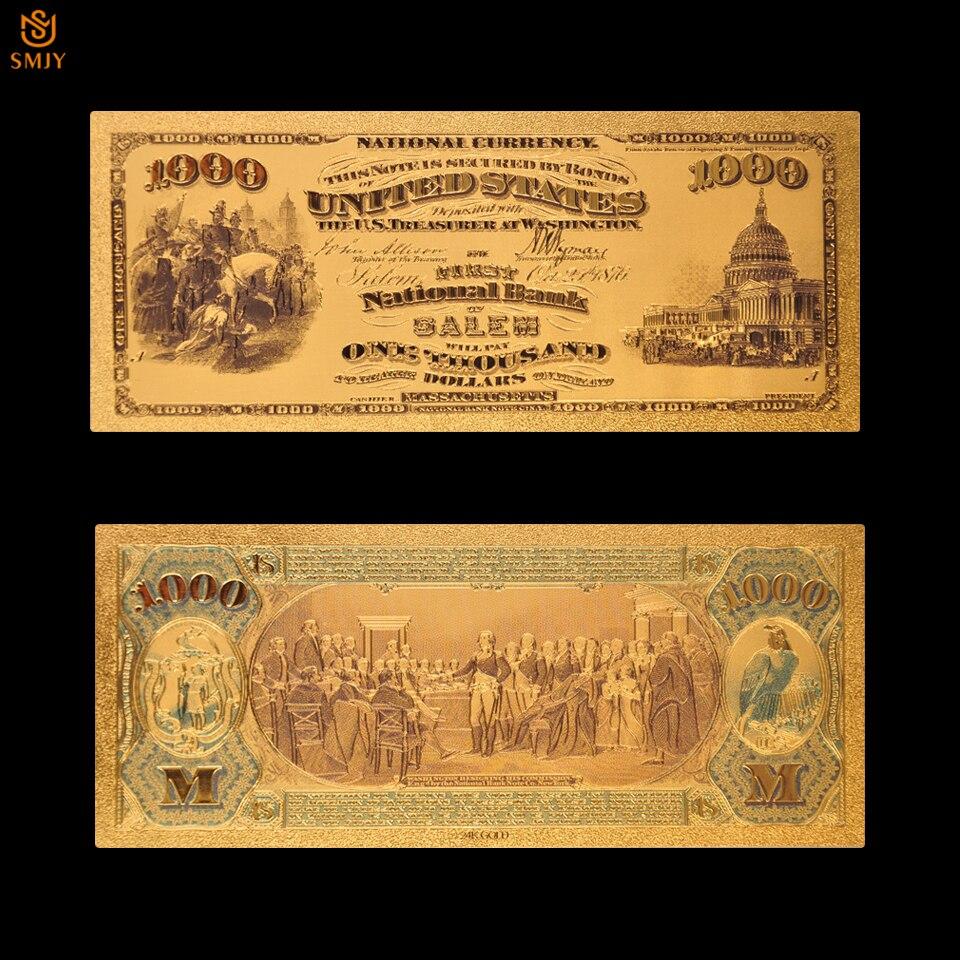 Billete de oro de recuerdo de EE. UU. 1875 $1000 dólar Color oro plateado dinero papel billete para colección