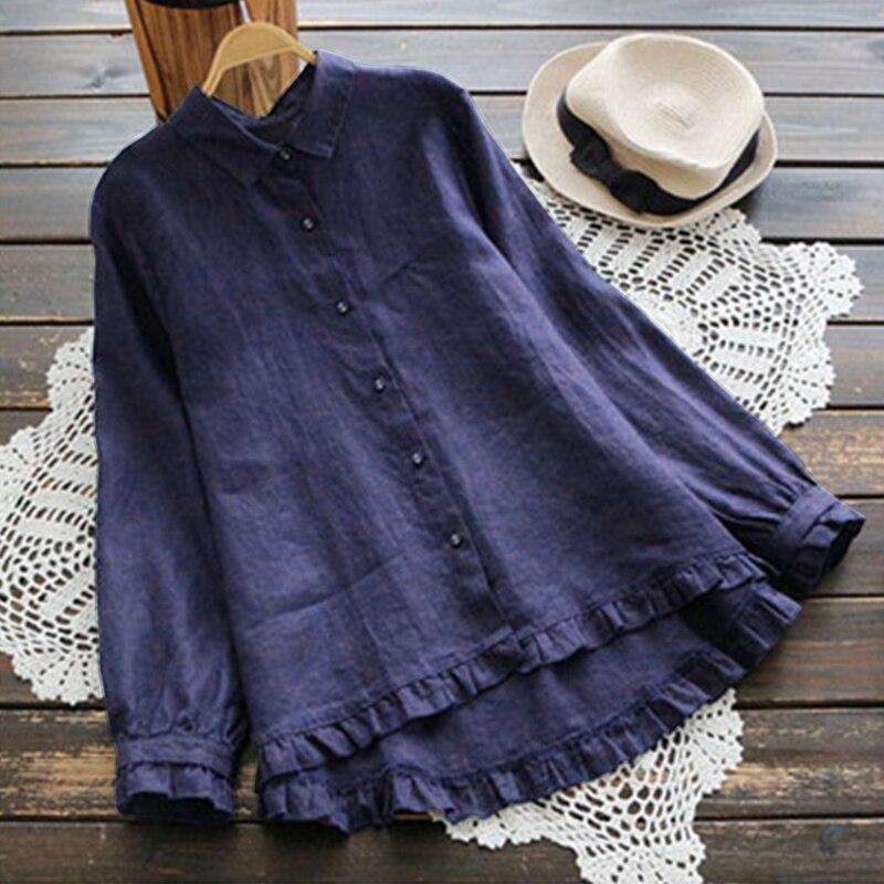 2019 ZANZEA elegante mujer volantes camisa de manga larga de botones blusa Casual de solapa de algodón de cuello Top de lino fiesta Blusas