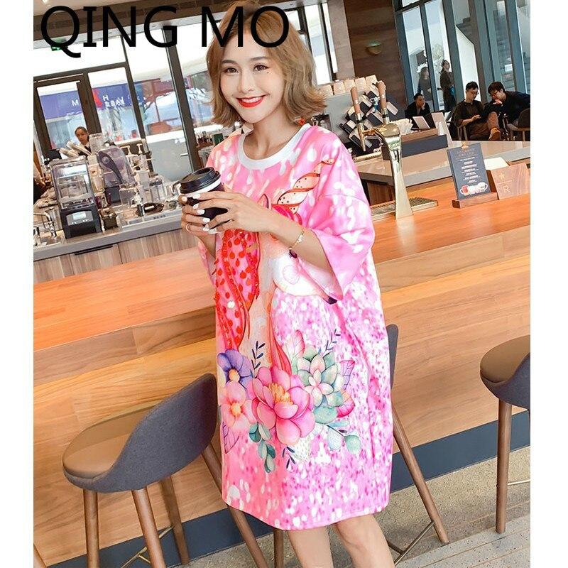 QING MO femmes Animal dessin animé motif imprimé robe Paillette robe o-cou à manches courtes genou-longueur rose printemps robe ZQY002