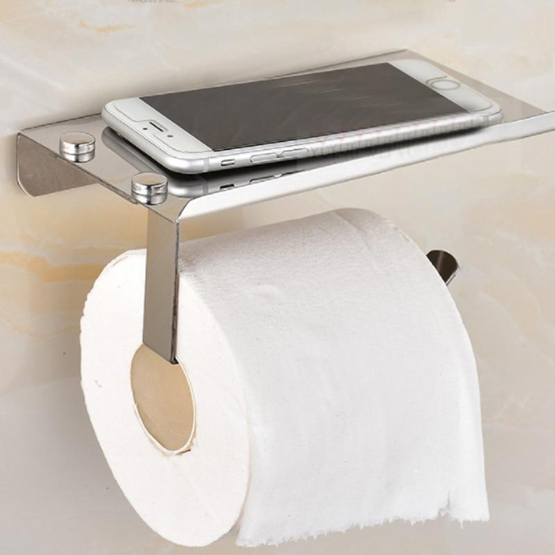 Stainless Steel Bathroom Paper Phone Holder With Shelf Bathroom Mobile Phones Towel Rack Tissue Boxes Toilet Paper Holder