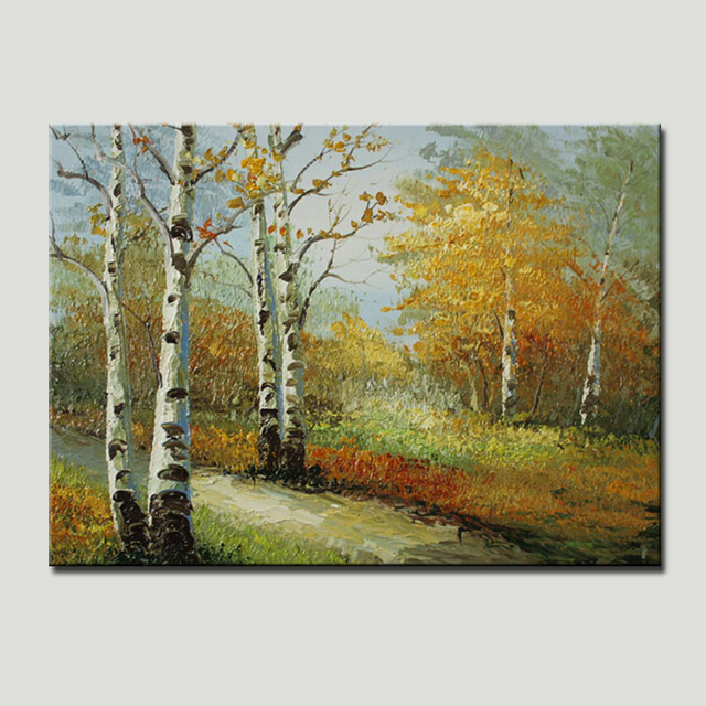 Free Shipping Hand Painting Romantic Sense Of Autumn Tree Picture Painting On Canvas Home Decoration For Living Room Wall Art