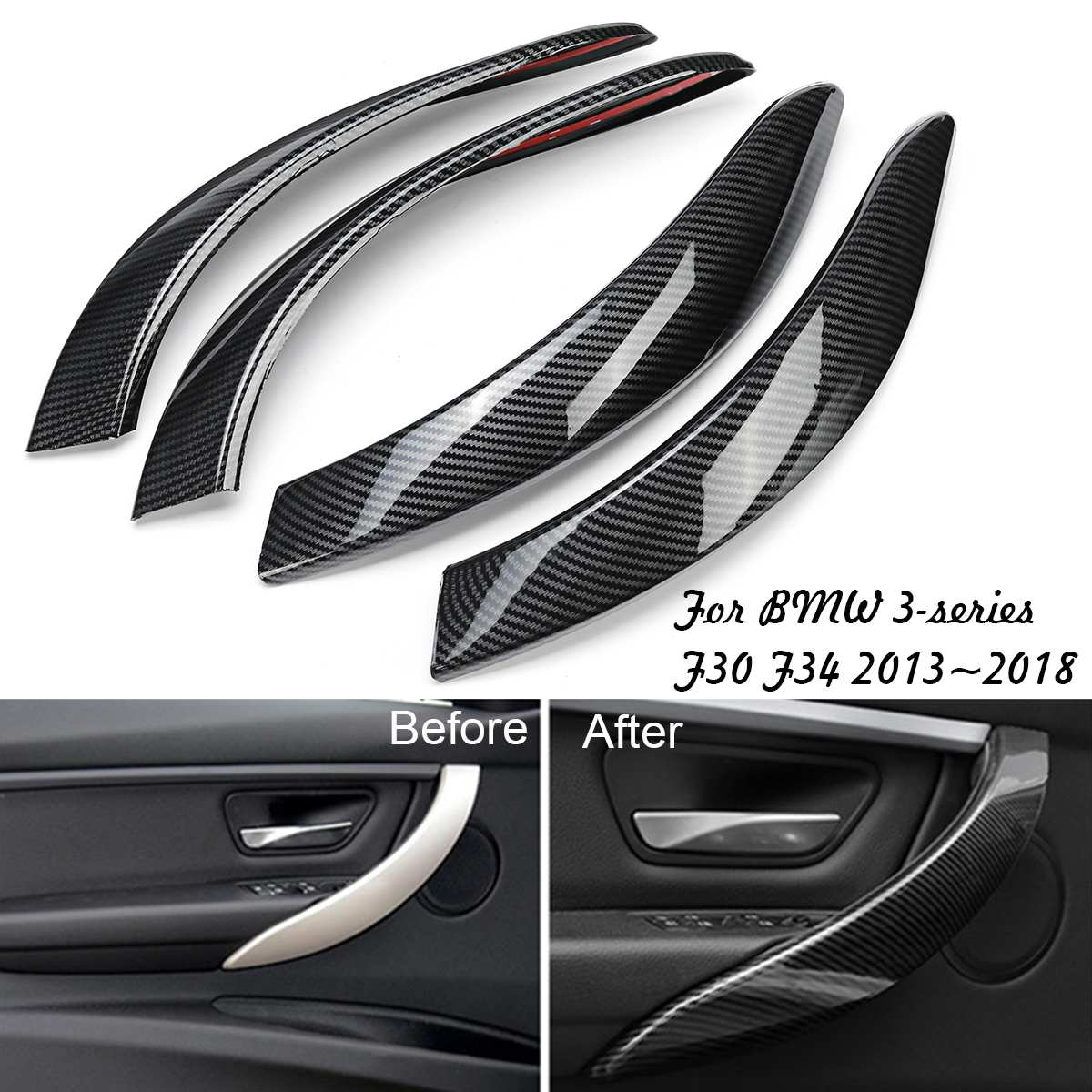 4 pièces Intérieur Poignée de Porte pour BMW Série 3 F30 F34 2013 ~ 2018 En Fiber de Carbone Intérieur ABS Garniture Poignée Autocollant