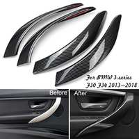 4Pcs Interior Door Handle Cover Trim for BMW 3 Series F30 F34 2013~2018 Carbon Fiber Look Interior ABS Trim Handle Sticker