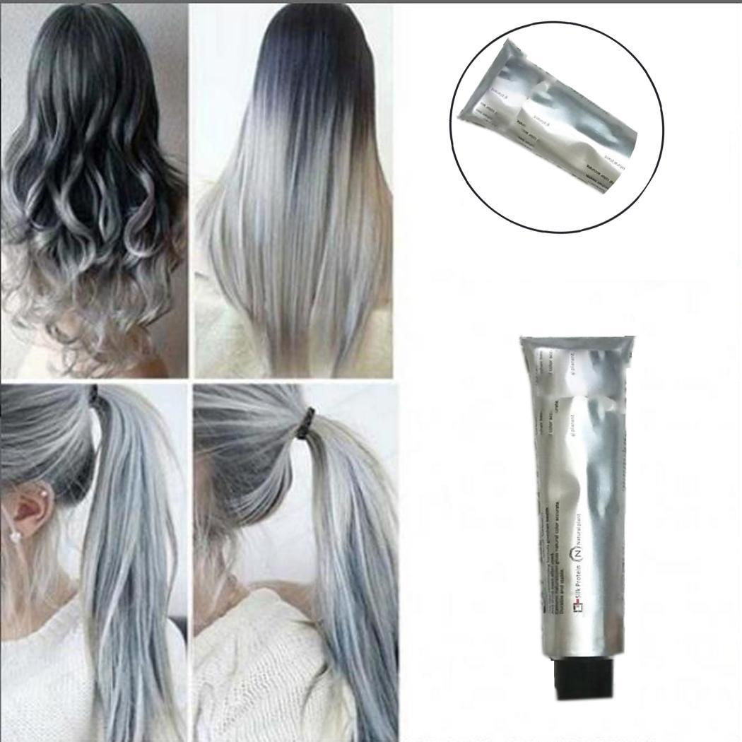 Hair Dye Cream Fashion Gray Hair Color Dye DIY Hair Styling Light Gray Color Permanent Natural Christmas Party Styling