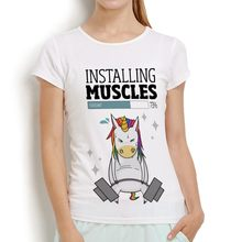 Bodybuilding rainbow unicorn Weightlifting installing muscle funny t shirt femme new white casual tshirt women cute t-shirt(China)