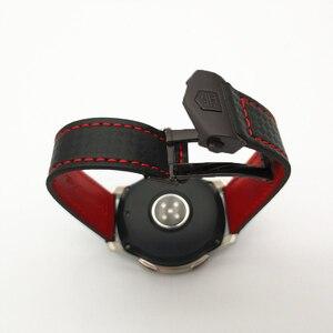 Image 4 - حزام (استيك) ساعة لسامسونج غالاكسي ووتش 46/42 مللي متر الكربون الألياف جلد طبيعي حزام ل والعتاد S3 هواوي GT ووتش 2 Amazfit 2 مربط الساعة