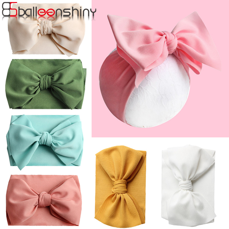 Balleenshiny Big Bow Headband For Girls Solid Large Hair Bows Elastic Turban Head Wraps Kids Top Knot Hairband Hair Accessories