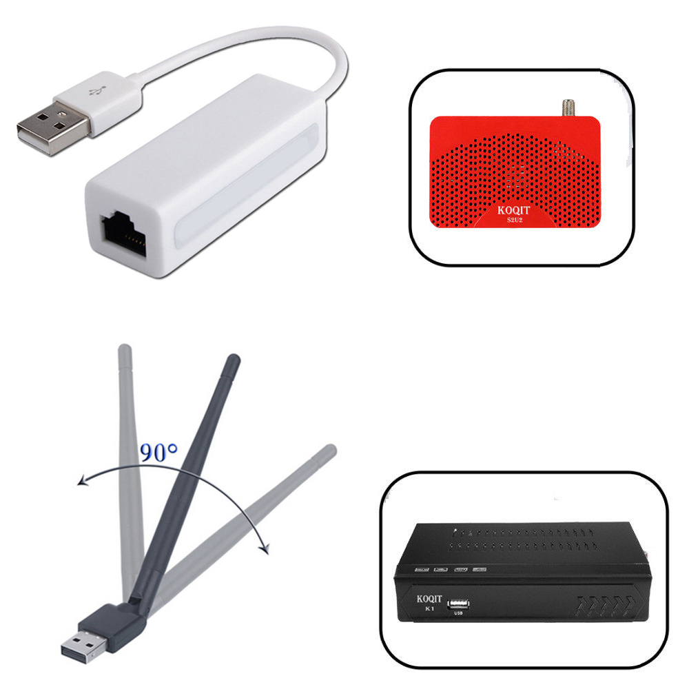 Koqit K1 U2 Wireless Cable WiFi USB To RJ45 Lan Ethernet MTK7601 88772A Adapter Antenna Network DVB-S2 Satellite Receiver Tv Box