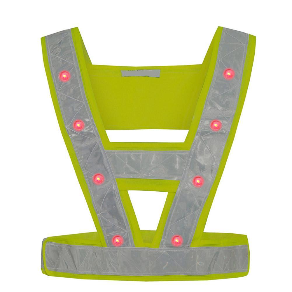 16 LED Light Up Safety Reflective Stripes Vest Traffic Night Safety Warning Clothing Led Safety Vest With Red Light