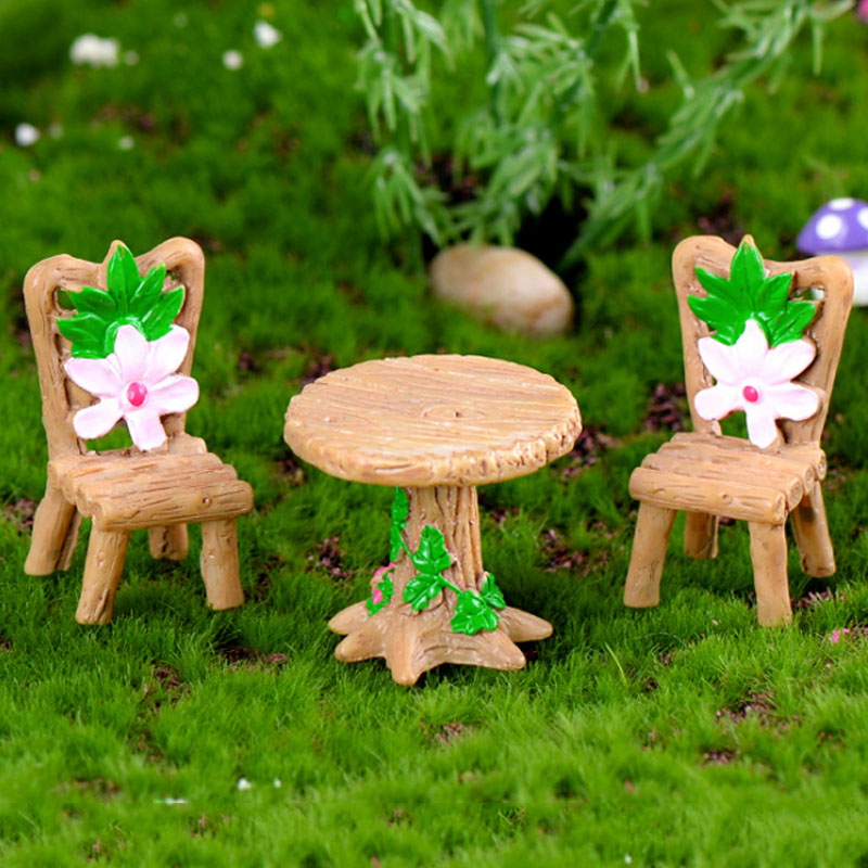 Resin Terrarium 3PCS/Set Garden Table Chair Figurine Decoration Micro Landscape Ornament Fairy Miniature Craft(China)