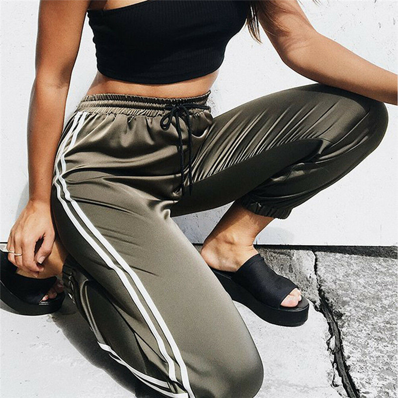 Side Stripe Satin Harem Pants Women High Waist Casual Drawstring Fitness Leggings Long Loose Trousers Sweatpants Pantalon Mujer