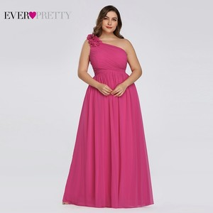 Image 4 - Plus Size Burgundy Chiffon Bridesmaid Dresses Long Ever Pretty EP08237 A Line Sleeveless Elegant Formal Wedding Guest Gowns 2020
