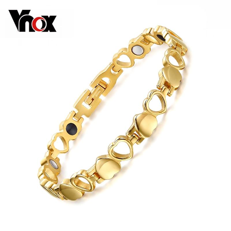 067deea70525 Cheap Vnox cuidado saludable pulseras magnéticas brazaletes corazón color  oro Acero inoxidable mujeres joyería de moda