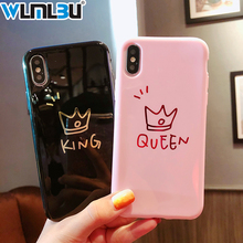 Glossy Crown Phone Case For iphone X Case For iphone 8 Plus 6 6S 7 Plus Cute Letter KING QUEEN Soft TPU Couples Back Cover glossy soft tpu back case shell for iphone 6 plus 6s plus dreamcatcher pattern