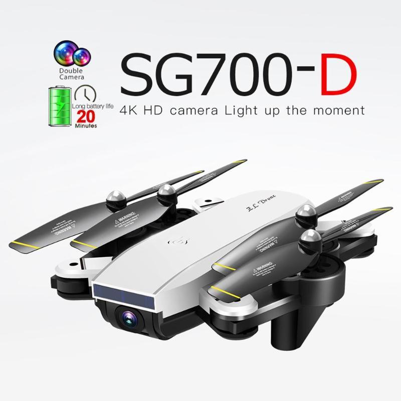 SG700-D Wi-fi FPV RC Zangão Dobrável 4K 1080P HD Câmera Dupla Óptica de Fluxo Em Tempo Real de Vídeo Aéreo RC aeronaves Quadcopter Posicionamento
