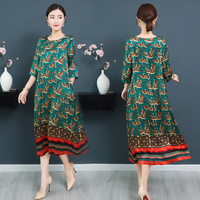 2019 summer new green print silk satin dress loose Chinese style ethnic long dress casual large size 4xl