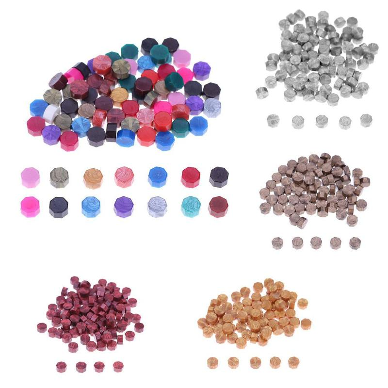100 Pcs Octagon Sealing Wax Beads for Wedding Invitation Letter Card Stamp