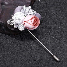 цены 1PC Flower Brooch Rhinestone Colorful Cloth Gray Pink Handmade Cardigan Silver Color Lace Sweater Crystal Simulated Pearl Alloy