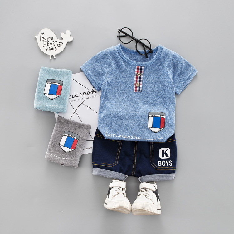 Kleidung Sets Sommer Baby Jungen Mädchen Kleidung Säuglings Bleistift Muster T Shirt Shorts 2 Teile/sätze Kinder Bekleidungs Kind Anzüge Kinder Mode Trainingsanzüge