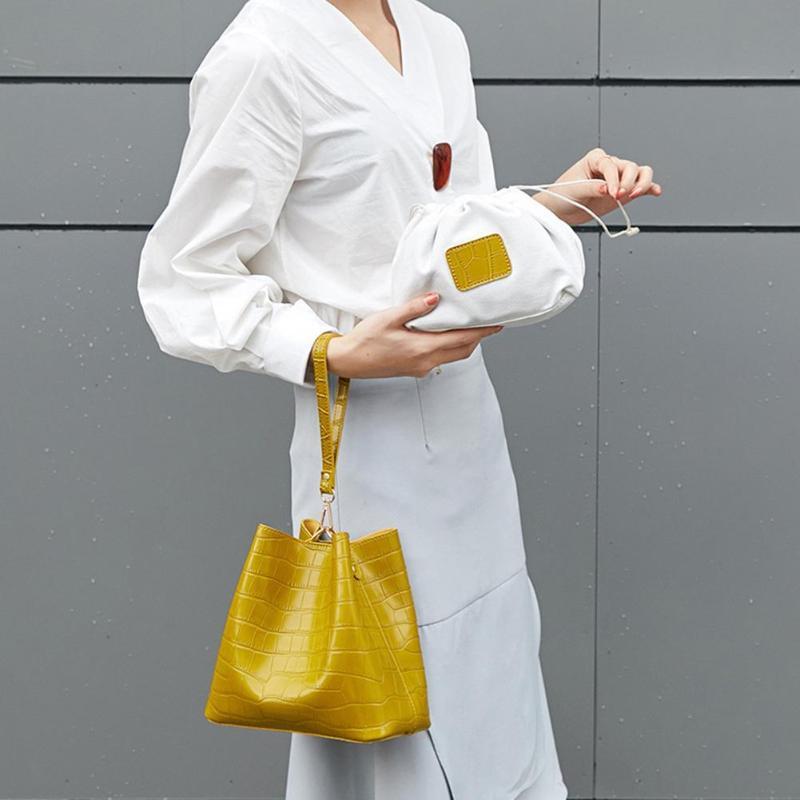 2Pcs/Set Alligator Pattern Shoulder Messenger Handbags Women PU Leather Bucket Crossbody Bags Solid Color Drawstring Clutch