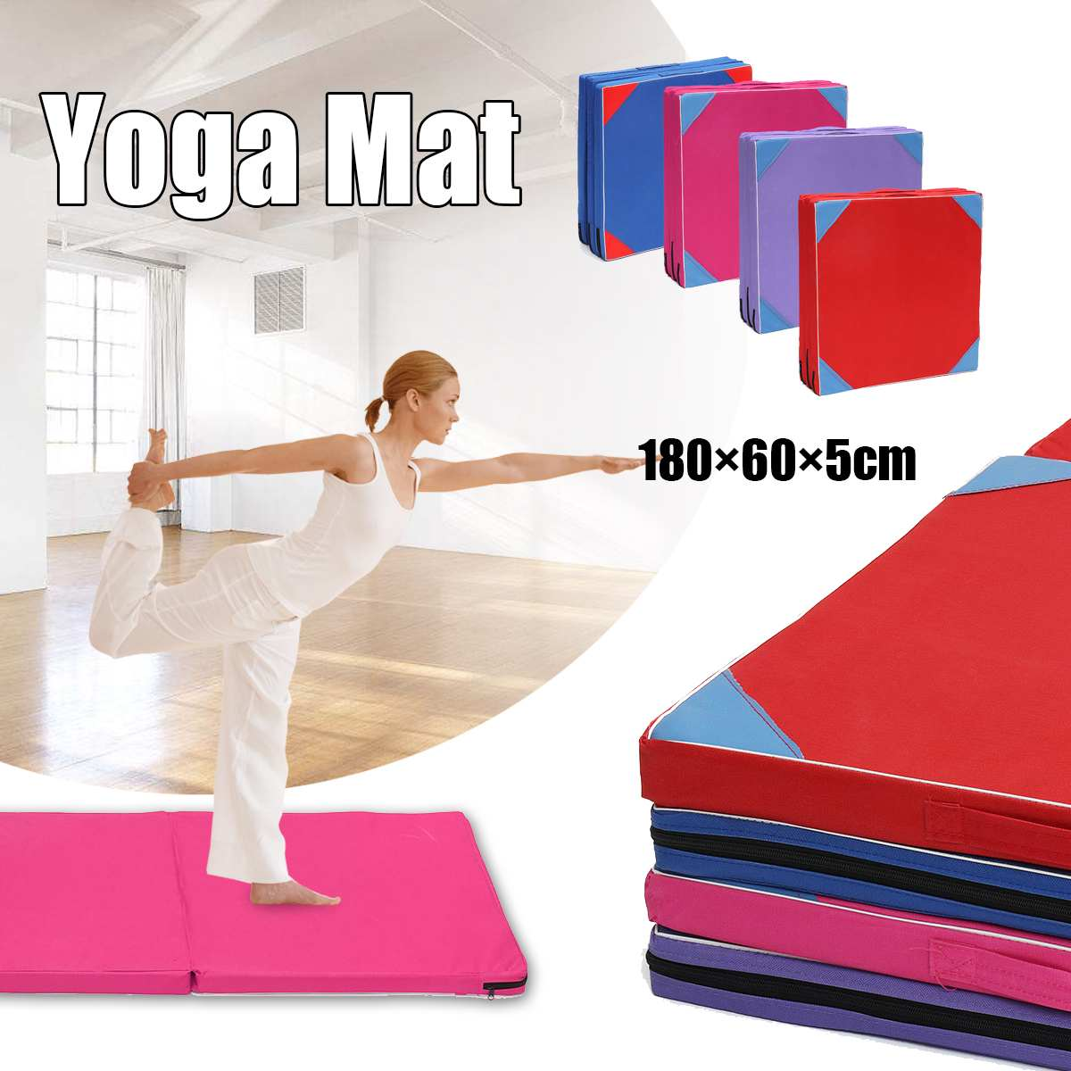 180x60x5 cm Pliage Tapis De Gymnastique Gymnastique Au Sol Tapis De Yoga Exercice Fitness Pilates Gym Exercice de Pique-Nique Pliante tapis Gym Yoga