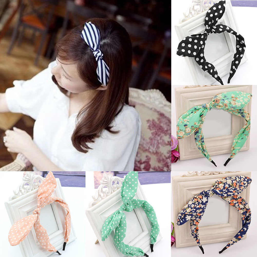 Women Girls Fabric Cute Sweet Big Ribbon Bow Rabbit Ear Headbands Elastic Stretchy Striped Dot Hair Bands Hair Accessories Gifts