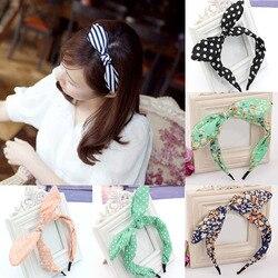 Women Girls Fabric Cute Sweet Big Ribbon Bow Rabbit Ear Headbands Elastic Stretchy Striped Dot Hair Bands Hair Accessories Gifts