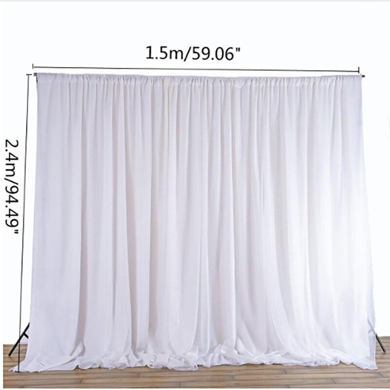 Branco puro pano de seda cortinas painéis pendurado cortinas foto pano de fundo eventos festa de casamento decoração diy têxteis 2.4x1.5 m
