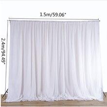สีขาว SHEER ผ้าไหมผ้าผ้าม่านผ้าม่านแขวนฉากหลังงานแต่งงานงานปาร์ตี้ DIY ตกแต่งสิ่งทอ 2.4x1.5M