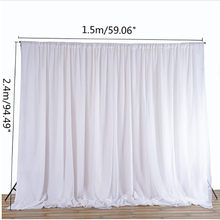 White Sheer Silk Cloth Drapes Panels Hanging Curtains Photo Backdrop Wedding Party Events DIY Decoration Textiles 2.4x1.5M
