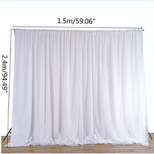 White Sheer Silk Cloth Drapes Panels Hanging Curtains Photo Backdrop Wedding Party Events DIY Decoration Textiles 2.4x1.5M(China)