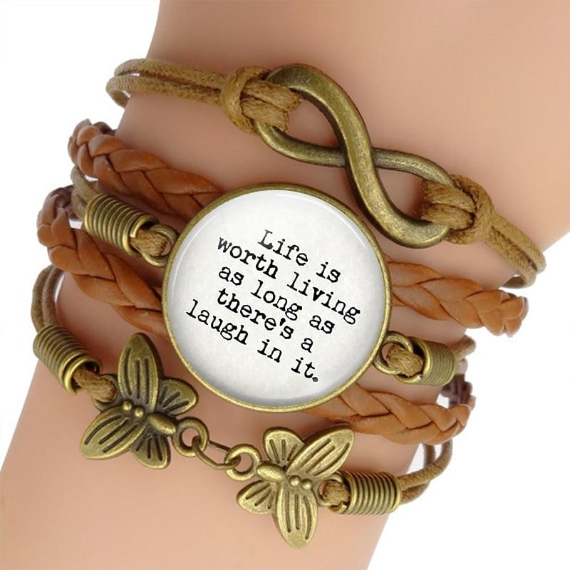 Anne Of Green Gables Zitieren Glas Cabochon Woven Leder Armband & Armreif Inspirational Schmuck Halten Sie Die Ganze Zeit Fit