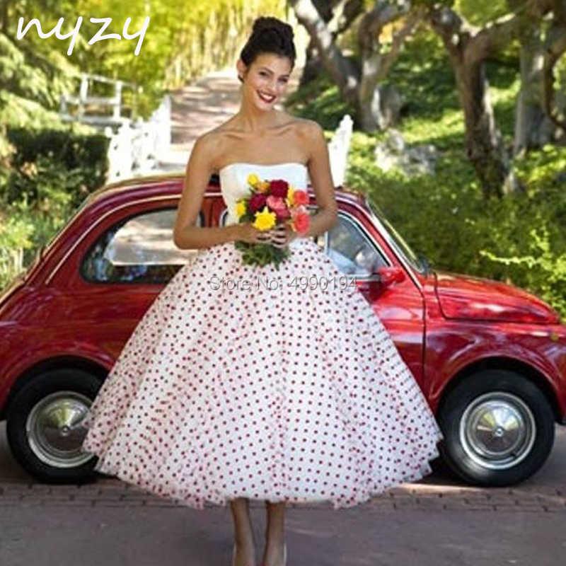 NYZY W1 czerwona i biała krótka suknia ślubna 2019 Vintage 50s 60s bez ramiączek Polka Dot suknia balowa z krynoliną herbata długość szata de mariee