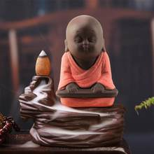 Small Buddha Statue Tea Pet Purple Sand Pottery Home Office Car Monk Figurine Decoration Ornaments Crafts Decorative Ceramic orn(China)