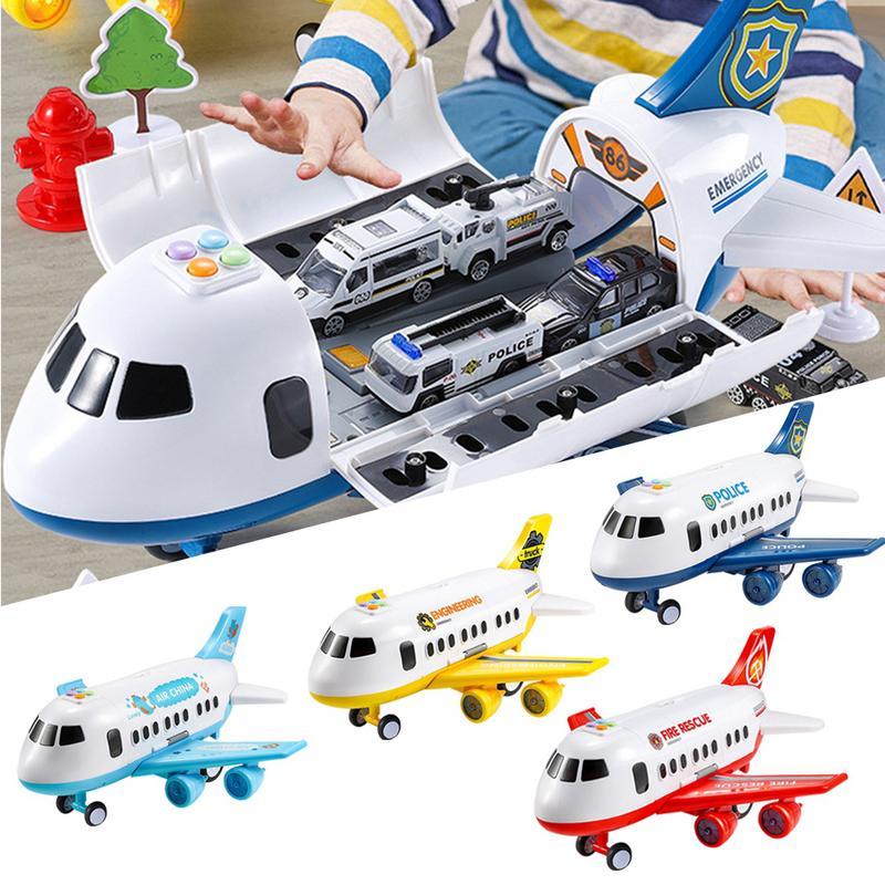 Jouets pour enfants grand modèle d'avion pliable Simulation de musique inertielle avion enfants garçons jouet voiture modèle Simulation d'inertie