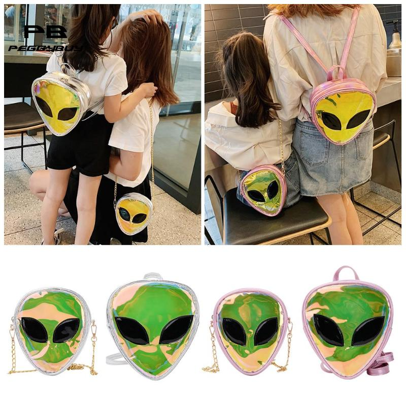MOJOYCE Backpacks For Teenage Girls Laser Clear 3D Alien Face Shoulder Bags Women Girls Back Pack Mochilas Feminina Bagpack 2019