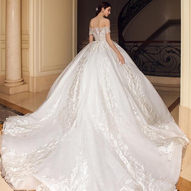 205892bbfa16 Más barato Mingli Tengda blanco De lujo Apliques encaje boda ...