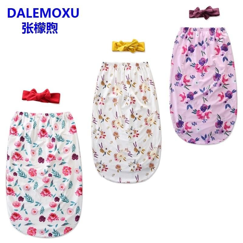 DALEMOXU Flower Newborn Infant Girl Sleeping Bag Baby Headband Blanket Wrap Cocoon Swaddle Cotton Sleep Sack 2pc