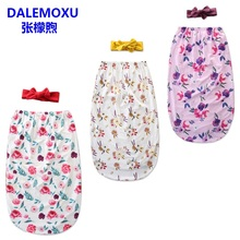 DALEMOXU Flower Newborn Infant Girl Sleeping Bag Baby Headband Blanket Wrap Cocoon Swaddle Cotton Sleep Sack 2pc