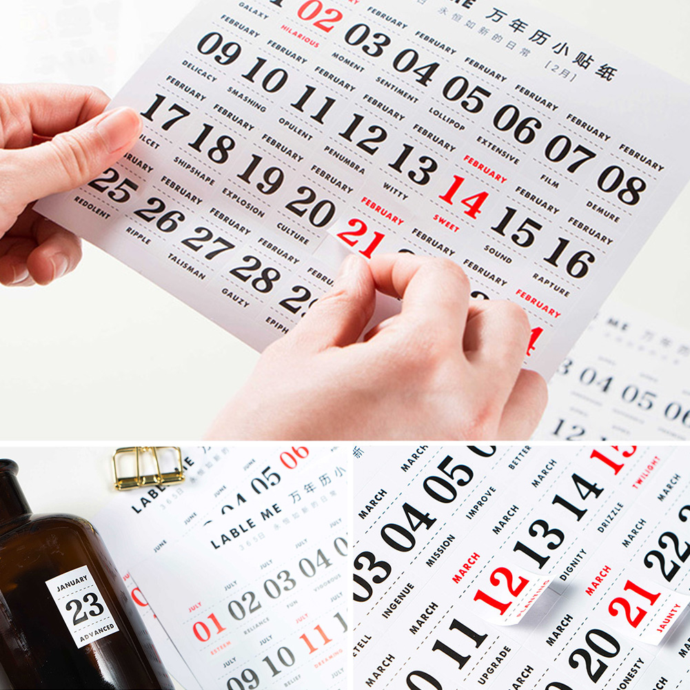 12 Sheets Scrapbook For Notebook Memo Reminder Small Sticker School Supplies Self Adhesive Paper Dates Labels Perpetual Calendar image