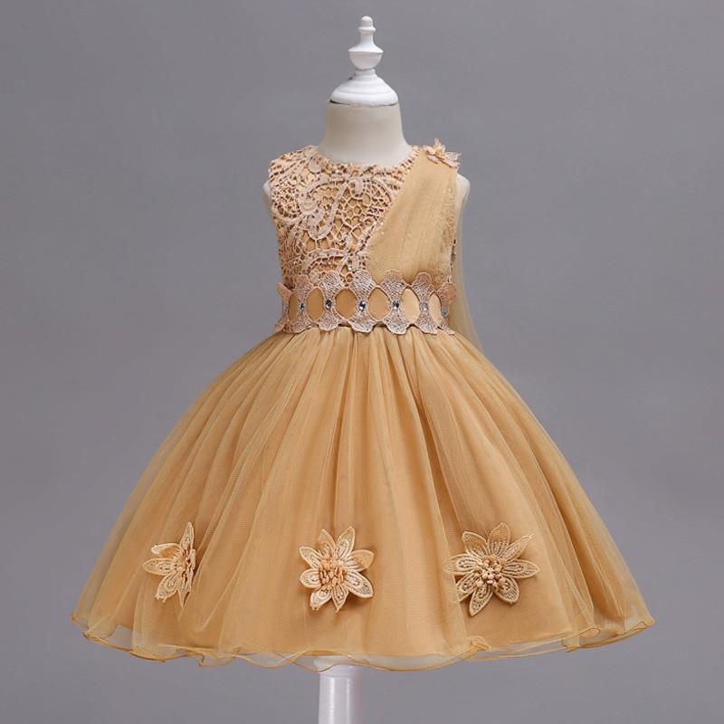 Lace   Flower     Girl     Dresses   2019 Applique Faux Diamond   Girls   Pageant   Dresses   Children Birthday Wedding Party Gown Mesh Tutu   Dress