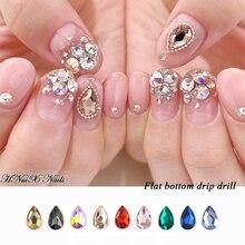 10 шт. капли воды дизайн ногтей Стразы хрустальные камни 9 Цвет 6x8 мм блестящие ювелирные подвески для самостоятельного изготовления nail art Deco