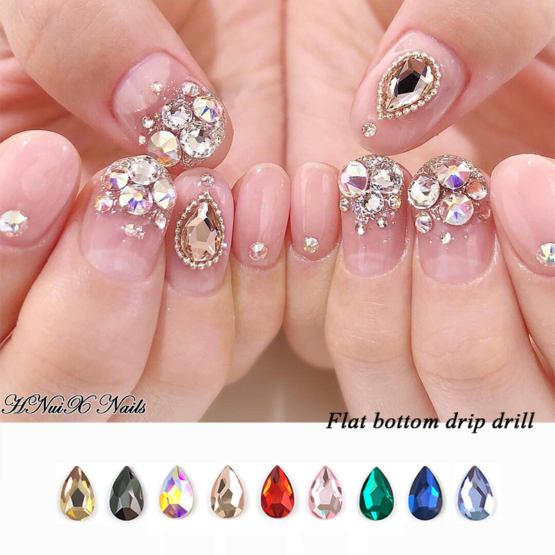10 PCs Water Drop Nail Art Rhinestones Crystal Stones 9 Color 6x8mm Shiny Diy Jewelry Charms Nail Art Deco