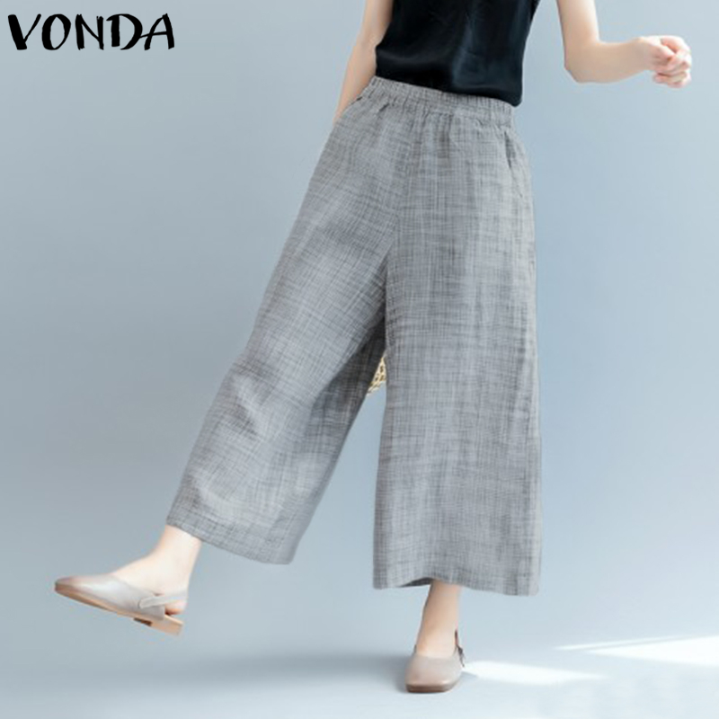 VONDA Women Fashion Harem Pants 2018 Autumn Elastic Waist High Waist Casual Loose Long Wide Leg Pants Plus Size Pockets Trousers