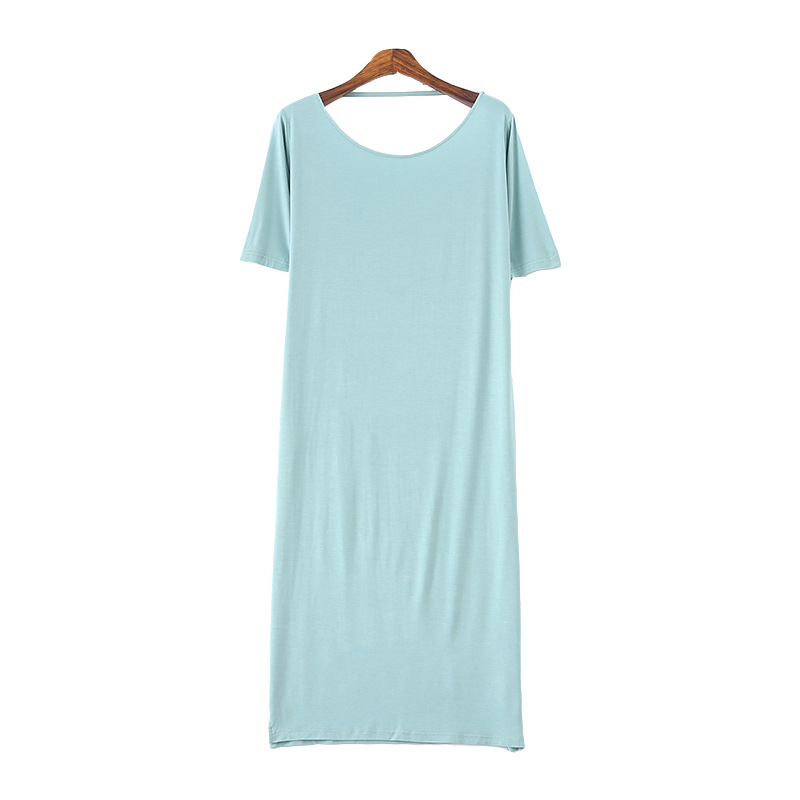2019 Summer Nightgowns & Sleepshirts Loose Sleep Lounge Modal Cotton Sleepwear Women Sexy Nightwear Backless Nightdress