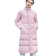 White Duck Down Pink Down Jacket Coat Stand Collar Loose Winter Women Parkas Pocket Long Overknee Snow Outwear Office Lady HJ55 все цены