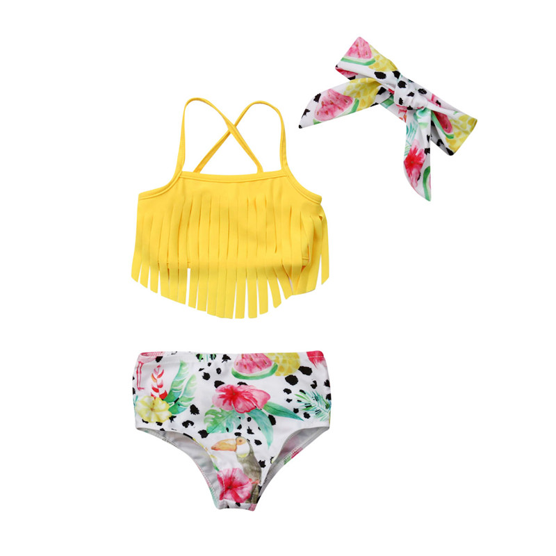 0-24m Baby Girls Swimwear Solid Yellow Tassel Sling Tops Girls Bikini 2019 Watermelon Print Trunks Swimsuit For Girl Newborn Set Famous For Selected Materials Novel Designs Delightful Colors And Exquisite Workmanship