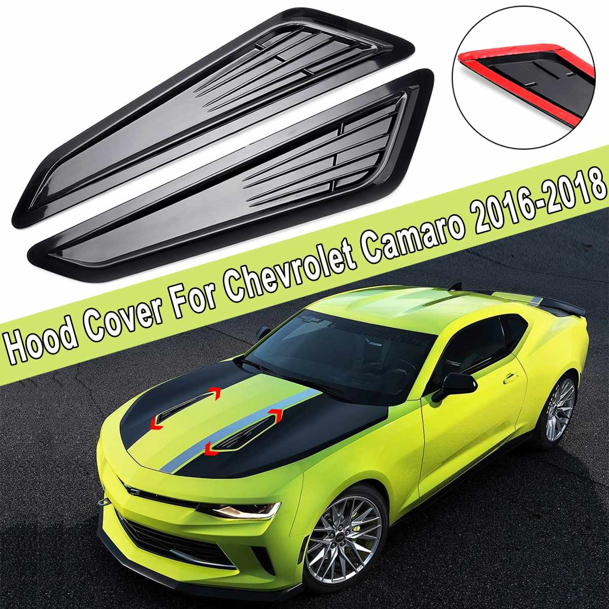 Interior Mouldings Trend Mark 2pcs/set Car Decor Abs Black Hood Air Flow Engine Outlet Decorative Vent Cover For Chevrolet For Camaro 2016-2018 Auto Decor Convenience Goods Interior Accessories